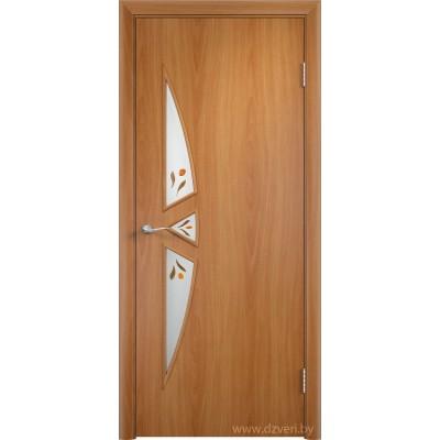 Ламинированная дверь МДФ - С-1 стекло с фьюзингом