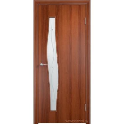 Ламинированная дверь МДФ - С-10 стекло с фьюзингом