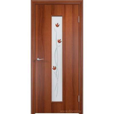 """Ламинированная дверь МДФ - С-17 со стеклом """"Тюльпан"""""""