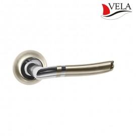 Дверная ручка Генуя (Vela) никель/хром