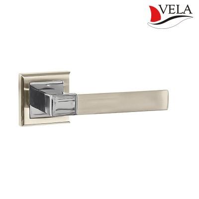 Дверная ручка Перуджа (Vela) никель/хром